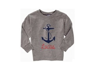 Personalized Anchor Toddler Clothing, Toddler Boy Clothes, Girl's Long Sleeve Shirt, Nautical Baby Shirt, Navy Red and White, Children's Tee