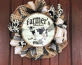 Farmer's Market Wreath, Cow Wreath, Burlap Wreath, Farmhouse