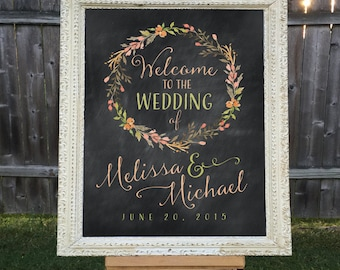 Printable Wedding Welcome Sign, Personalized Wedding Sign, Names and Date, Chalkboard Wedding Sign