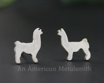 Sterling Silver alpaca earrings, llama earrings, Alpaca Jewelry, Llama Jewelry, Alpaca Stud Earrings, Silver Animal Earrings, Animal Studs