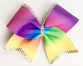 Shimmering Rainbow Cheer Bow