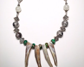 Seashell & Silver Spike Necklace