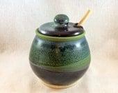 Stoneware pottery honey pot/ sugar bowl, black, green, and blue glaze (holds 16 oz)- includes honey dipper, ceramic honey pot with dipper