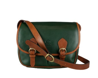 Womens Green Leather Crossbody Bag,  Shoulder Bag - Gravity's Rainbow