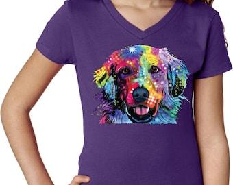 Girl's Neon Golden Retriever Shirt 20142NBT4-3740