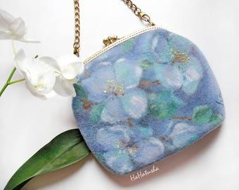 Blue Felted bag frame, Felt handbag with flowers, Felted wool purse, Clutch frame handbag, Kiss lock frame, Unique gift for women, OOAK