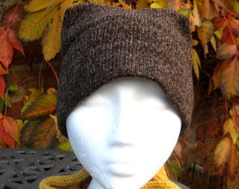 Handmade Pure Shetland Wool Hat in natural Browns with Coconut Button to Finish