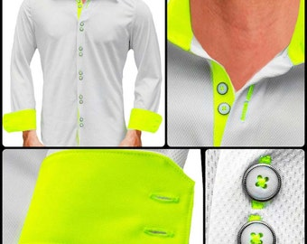 White with Neon Yellow Moisture Wicking Dress Shirt - Made in USA