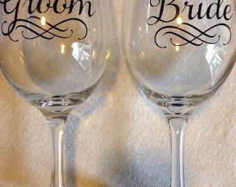 Bride and Groom Black Vinyled Wine Glass Set