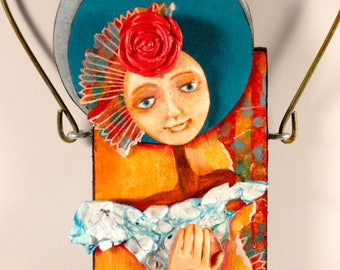 Mixed Media Art Doll - Spirit Doll - Abstract Collage  Doll - Assemblage Doll - CHARM