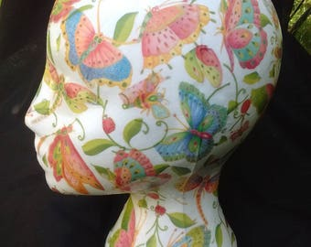 Decoupage female mannequin head for hats, jewellery & wig display in butterfly, dragonfly, bee ladybird design, hat stand, poly, styrofoam