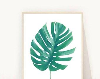 Monstera Leaf Print, Tropical Leaf, Printable Art, Palm Art Print,  Minimalist Art,  digital Download, Wall Decor, Green Wall Art
