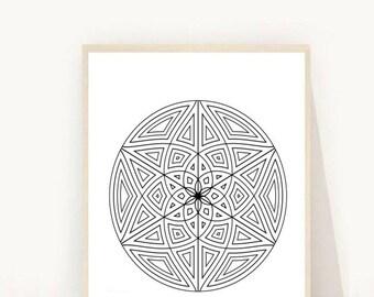 Sacred Geometry Print, Black and White Art, Geometric Art Print, Instant Download Printable Art, Geometric Print, Wall Decor