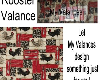 Red Rooster Kitchen Valance French Country Chic Window Treatment Colors  Include Black Gray Red Beige Great