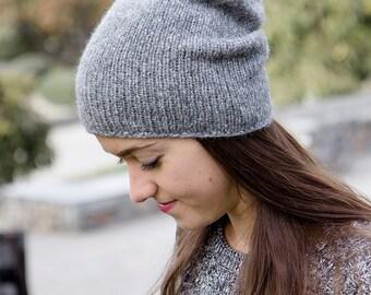 Gray Alpaca Beanie - Grey Knit Beanie - Hand Knit Hat For Women - Womens Wool Hat - Womens Beanie