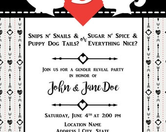 Gender Reveal Invitation | Hearts and Arrows | Vintage Black and White/Cream | Digital File