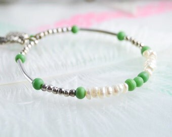 Cultured pearl bracelet - Bracelet ceramic - Bracelet memory shape - Bracelet stackable - Bracelet - Bracelet charms