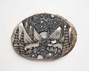 Universe Camping // Original Wood Slice Art, Wood Art, Space, Planets. Designed by Menisart