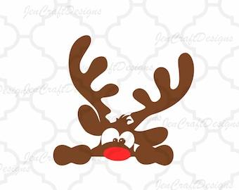 Peeking Christmas Reindeer SVG,EPS Png DXF, Peeping Reindeer digital download files for Silhouette Cricut, vector Clip Art graphics