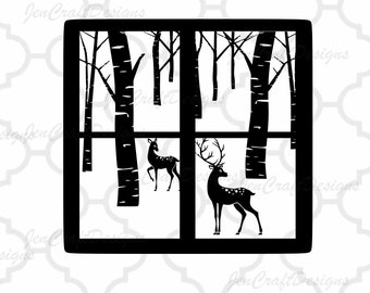 Christmas Winter Scene svg  Glass Block Reindeer SVG,EPS Png DXF for Silhouette Cricut, Vinyl Cutting Machines Buck Doe