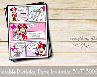 Minnie and Daisy birthday invitation, Comic invitation, Minnie birthday invitation, Daisy birthday invitation, Classic comic invitation