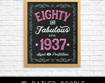 Eighty and Fabulous - 80 & Fabulous - 1937 Chalkboard Sign - Aged to Perfection - 80th Birthday Gift - 16x20 - Pink Glitter Aqua - Printable