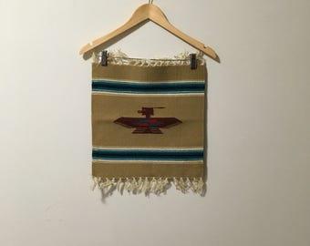 Vtg mini mexican blanket pheonix wall hanging