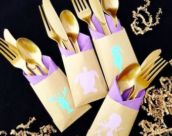 Cutlery Bags - Mermaid Party - Mermaid Birthday - Mermaid Baby - Mermaid Party Favors - Mermaid Baby Shower - Favor Bags - Beach Party - Bag