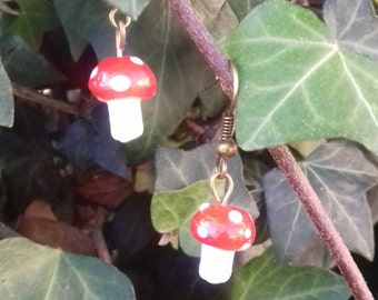Red Fairy Toadstool Earrings, Woodland, Kawaii, Kitsch, Glass,many colours available