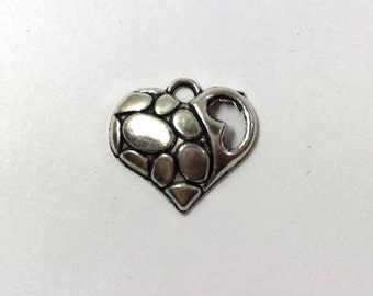 10 Silver Heart Charms 1-Sided Heart With Spots Charm Hearts 0111M