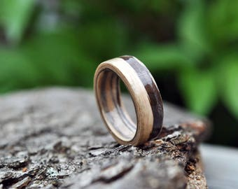 White wooden ring, Wooden Ring, Minimalist Wooden Rings, Wooden Bands, Natural Wedding Ring, 5 year anniversary, Laminated wood veneer rings