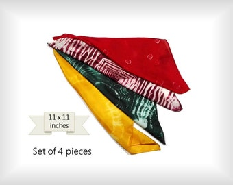 Handdyed play silks. Play silk squares. Imaginative silk toy. Waldorf inspired playsilk. Small silk wristband. Handmade set of 4 silks.