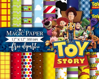 "50% OFF SALE Toy Story Digital Paper : ""TOY Story Digital Paper""- Toy Story ClipArt, Toy Story Digital Scrapbook Paper, Toy Story Clipart"