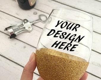Custom Personalized Glitter Wine Glass - Custom Stemless Wine Glass - Designs Your Own - Stemless Wine Glass