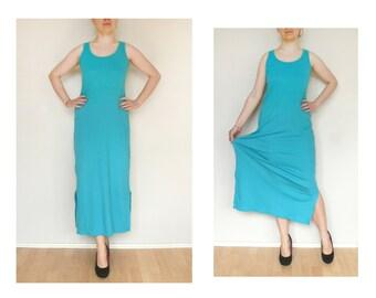 Blue opal dress Long Dress - vintage azure dress