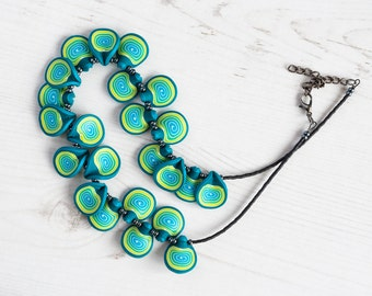 Chunky turquoise necklace UK, Turquoise chocker necklace, Wasabi green necklace, Turquoise bead necklace, Christmas gift for her, for Mum