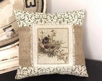 Pillow - Handmade Decorative Burlap Stenciled Accent Pillow - Spring Birds Nest Pillow