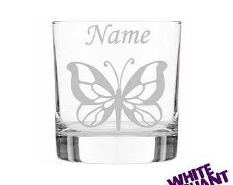 Etched Personalised Butterfly (A) Tumbler/High-Ball/Pint Glass