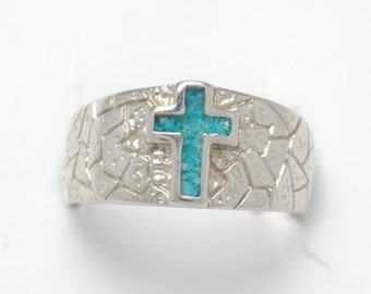 Cross ring - Unisex ring - turquoise ring - crucify ring - original ring - vintage ring