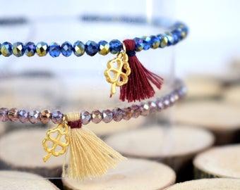Delicate Beaded Bracelet / Dainty Bracelet / Friendship Bracelet / Tassel Bracelet / Good Luck Bracelet / Lucky Clover Bracelet