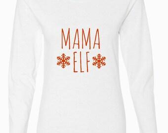 Mama Elf, Women's Long Sleeve Christmas Shirt