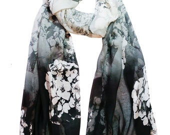Black, Grey, Ivory  Floral Hydrangea Print Scarf with complimentary Gift Wrap