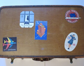 Original Vintage Oshkosh Leather Suitcase 1930s With Travel Stickers/Decals.