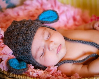 Little Lamb Baby Hat, Easter Photo Prop Sheep, Sizes: Newborn Baby, Toddler, Child, Teen, Adult, Gray and Blue, White Pink, Earflap Beanie