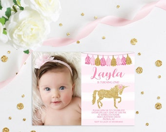 Unicorn First Birthday Invitation, Pink and Gold Glitter Invitation, 1st Birthday Invite, Magical Birthday Invite, Photo Invitation