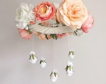 Whimsical coral & peach nursery flower mobile, floral crib mobile, baby girl mobile, baby mobile, floral chandelier, coral nursery mobile
