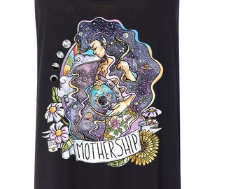 MOTHERSHIP outer space, astronaut milky way, maternity Slouchy Tank / Mothership maternity Mom Life Edgy  / Flowy Tank