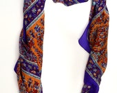 Kashmiri silk scarf,Purple Orange Paisley Silk Scarf,Indian Silk wrap,rebozo,100% Silk,Head scarf,soft fabric,Paisley,Accessory formen women