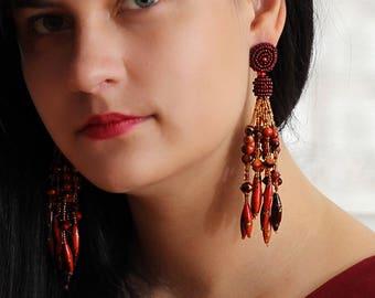Red tassle earrings / Bridesmaid earrings red / Red tassel earrings beaded / Artisan Earrings Unique / Lightweight Earrings for Bridesmaid