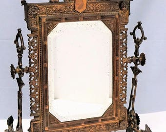 1800's Antique Victorian Brass Eastlake Cheval Vanity Mirror Aesthetic Movement